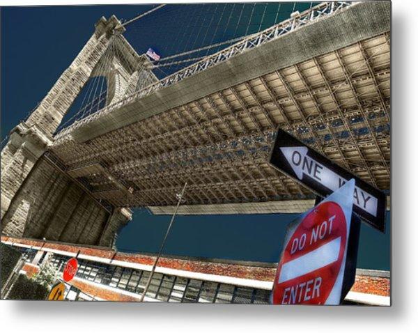 ...another Angle Of Brooklyn Bridge... Metal Print by Arkadiy Bogatyryov
