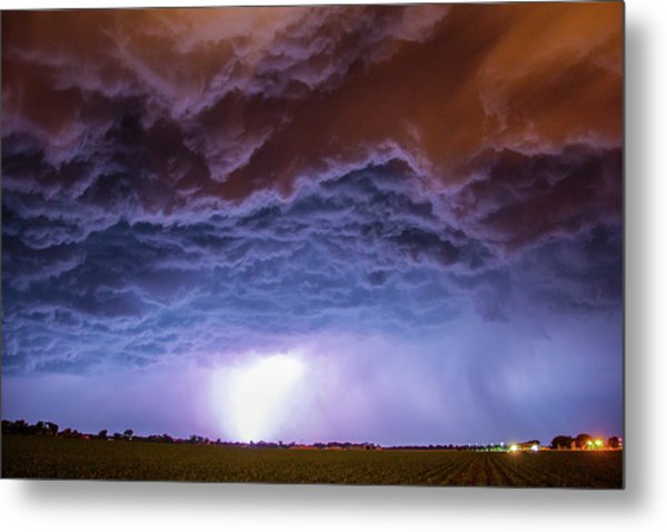 Another Impressive Nebraska Night Thunderstorm 007 Metal Print