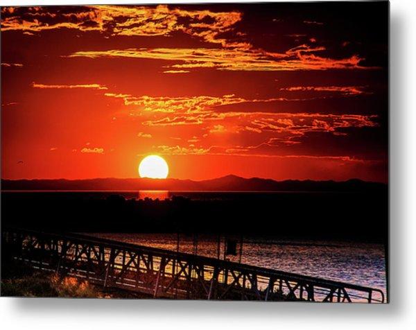 Antelope Island Marina Sunset Metal Print