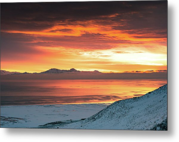 Metal Print featuring the photograph Antelope Island Sunset by Bryan Carter