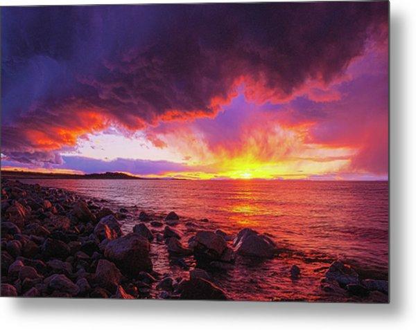 Antelope Island Sunset Metal Print