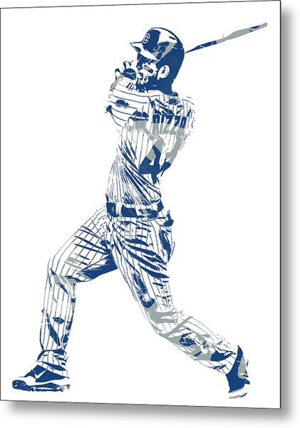 Anthony Rizzo Chicago Cubs Pixel Art 20 Metal Print