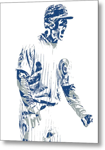 Anthony Rizzo Chicago Cubs Pixel Art 21 Metal Print