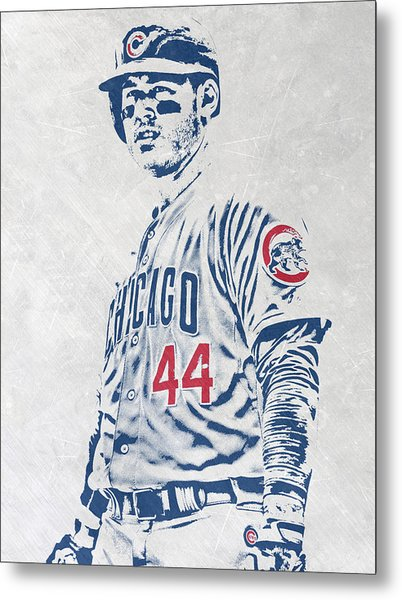 Anthony Rizzo Chicago Cubs Pixel Art Metal Print