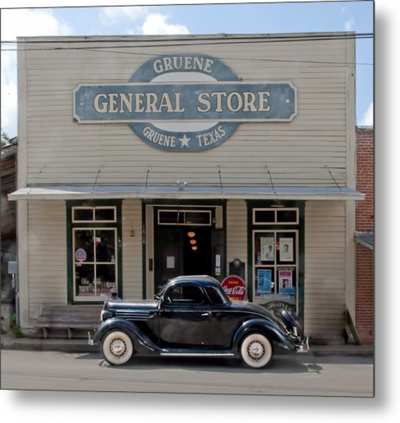 Antique Car At Gruene General Store Metal Print