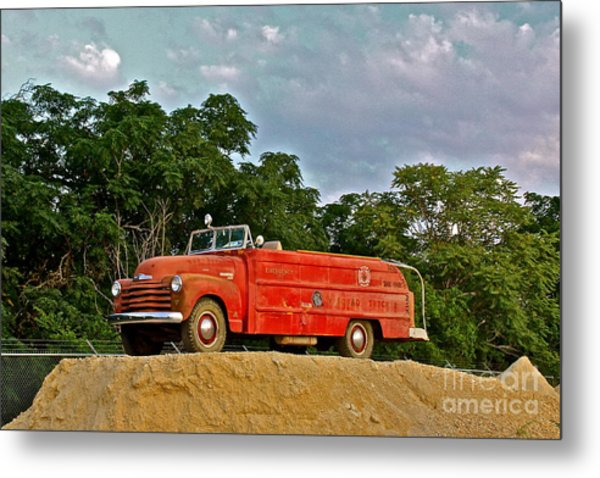 Antique Fire Truck - 8205 Metal Print
