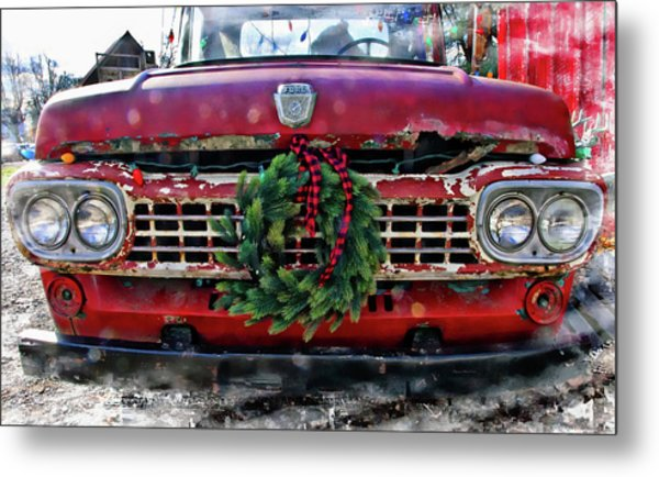 Antique Ford Christmas Metal Print