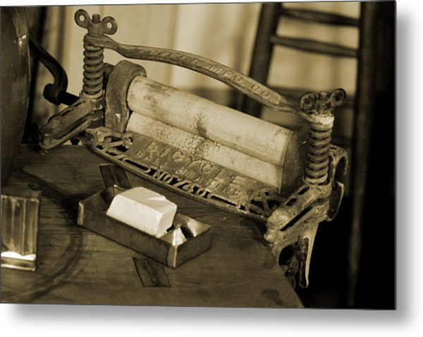 Antique Laundry Ringer And Handmade Lye Soap In Sepia Metal Print