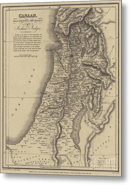 Antique Map Of Canaan Metal Print