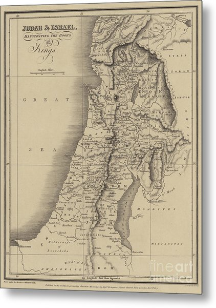 Antique Map Of Judah And Israel Metal Print