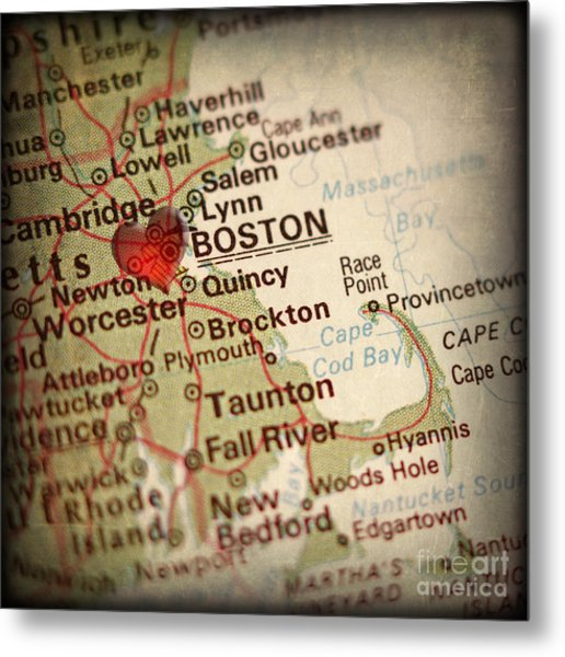 Antique Map With A Heart Over The City Of Boston In Massachusett Metal Print by ELITE IMAGE photography By Chad McDermott