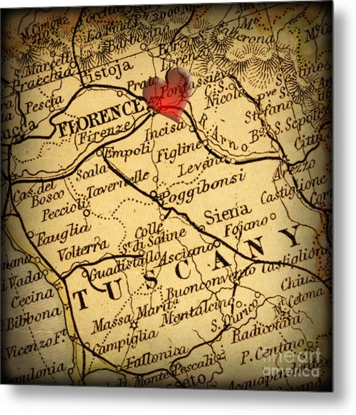Antique Map With A Heart Over The City Of Florence In Italy Metal Print by ELITE IMAGE photography By Chad McDermott
