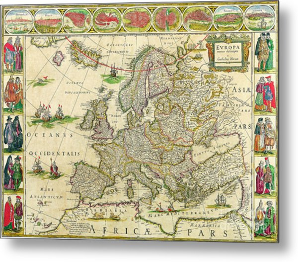 Antique Maps Of The World Map Of Europe Willem Blaeu C 1650 Metal Print