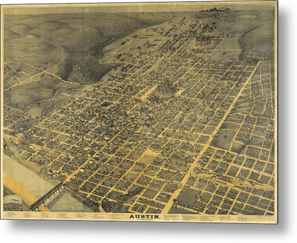 Antique Maps - Old Cartographic Maps - Antique Birds Eye View Map Of Austin, Texas, 1887 Metal Print