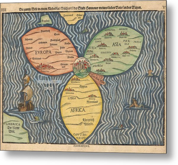Antique Maps - Old Cartographic Maps - Antique Clover Leaf Map Of Europe, Asia And Africa Metal Print