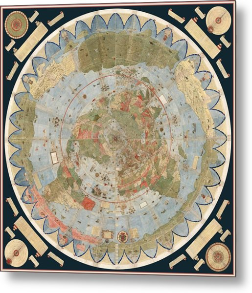Antique Maps - Old Cartographic Maps - Flat Earth Map - Map Of The World Metal Print