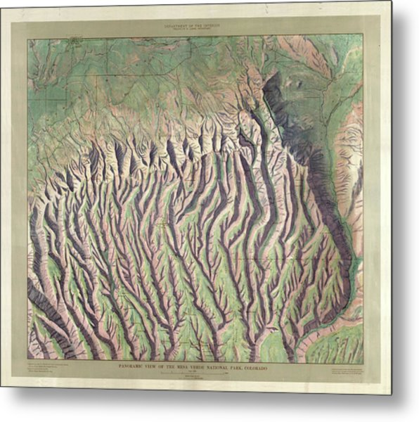 Antique Maps - Old Cartographic Maps - Relief Map Of Mesa Verde National Park, Colorado Metal Print