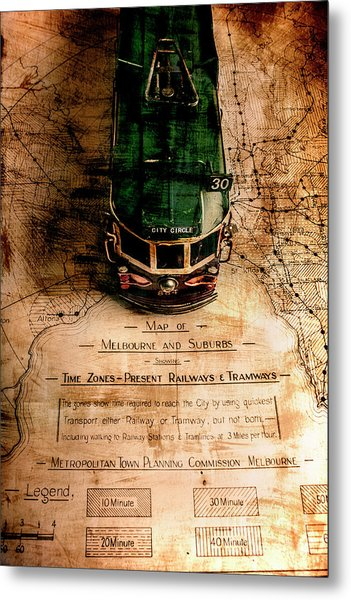 Antique Melbourne Travel Map Metal Print