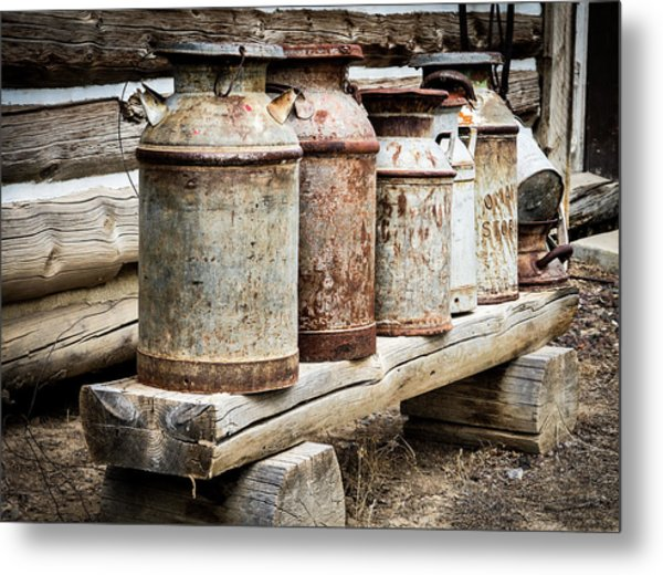 Metal Print featuring the photograph Antique Milk Cans by Nadja Rider
