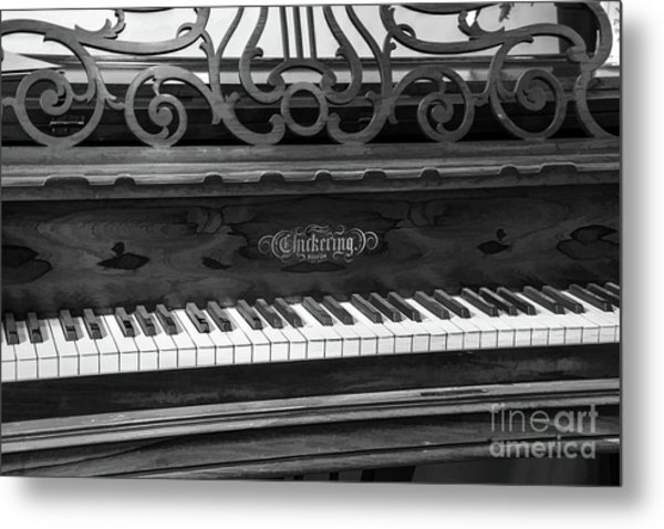 Antique Piano Black And White Metal Print