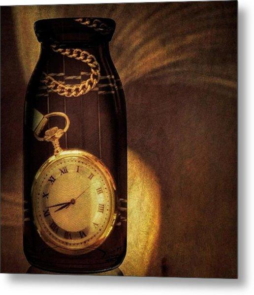 Antique Pocket Watch In A Bottle Metal Print