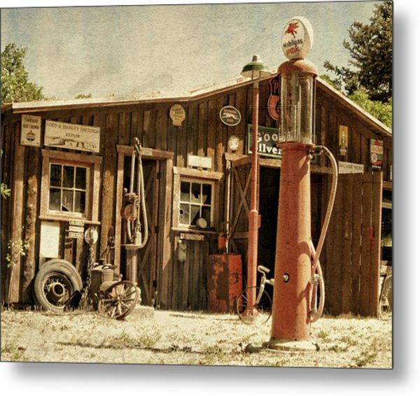 Antique Service Station Metal Print