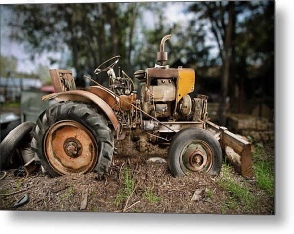 Antique Tractor Metal Print