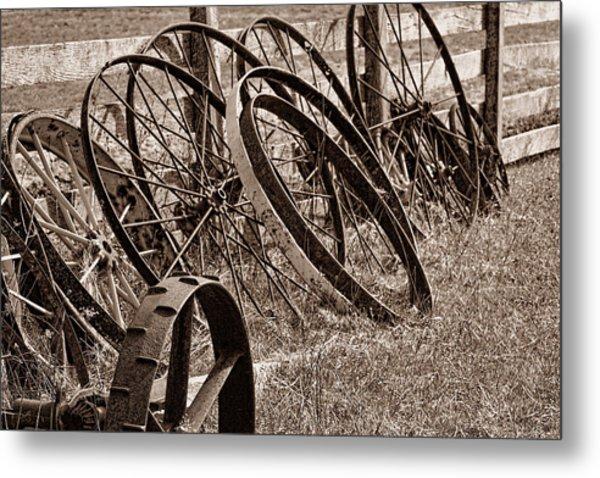 Antique Wagon Wheels II Metal Print