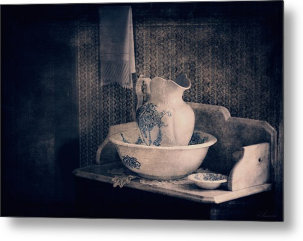 Antique Wash Basin And Pitcher  Metal Print