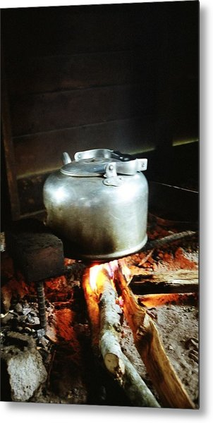 Antique Water Kettle On A Fire In Malaysia Metal Print by Gosta Eger