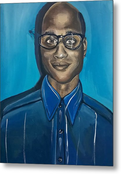 Black Man Artwork Black Nerd Superhero Painting Metal Print