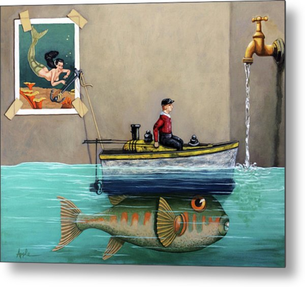 Anyfin Is Possible - Fisherman Toy Boat And Mermaid Still Life Painting Metal Print