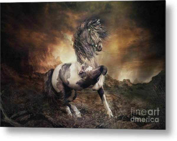 Apache War Horse Landscape Metal Print