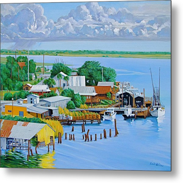Apalachicola Waterfront Metal Print by Neal Smith-Willow