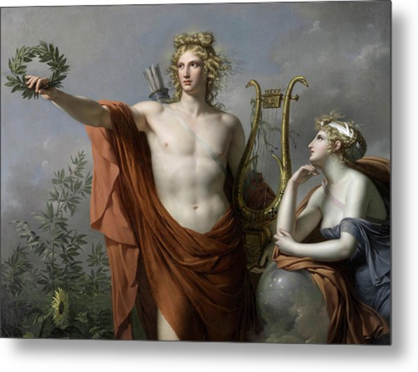 Apollo, God Of Light, Eloquence, Poetry And The Fine Arts With Urania, Muse Of Astronomy Metal Print