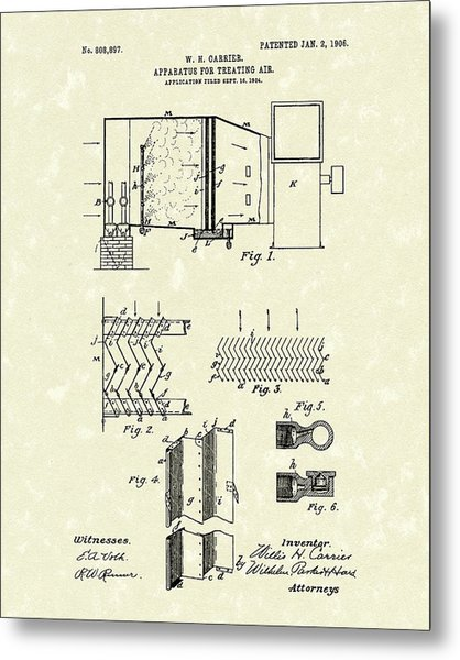 Metal Print featuring the drawing Apparatus For Treating Air 1906 Carrier Patent Art by Prior Art Design