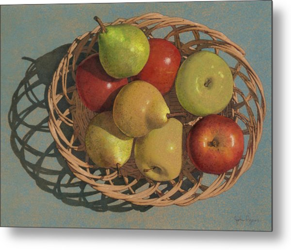 Apples And Pears In A Wicker Basket  Metal Print