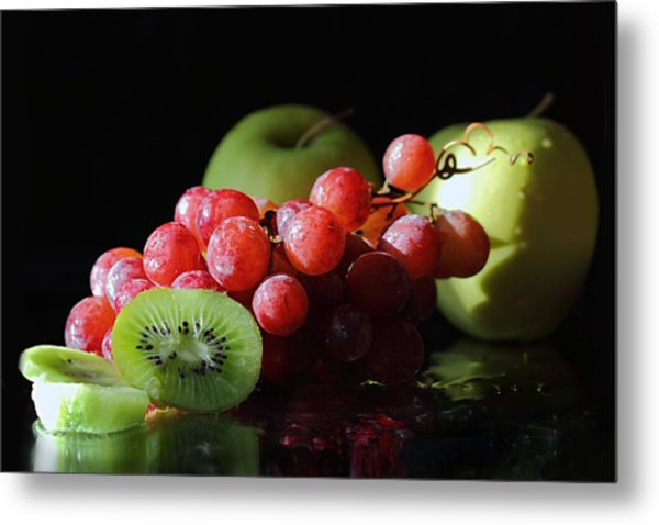 Apples, Grapes And Kiwi  Metal Print