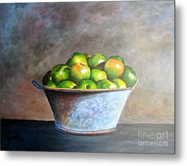 Apples In A Rusty Bucket Metal Print