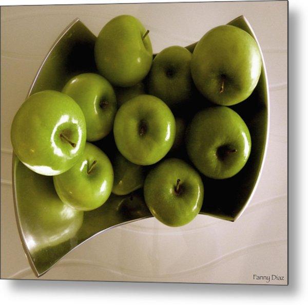 Apples In A Silver Vase 2 Metal Print by Fanny Diaz