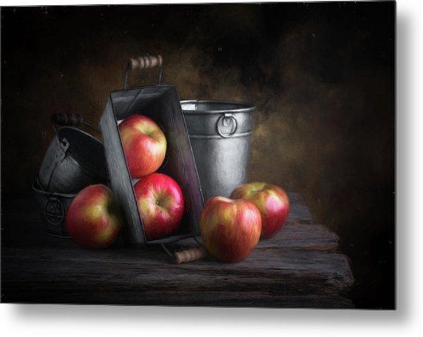 Apples With Metalware Metal Print