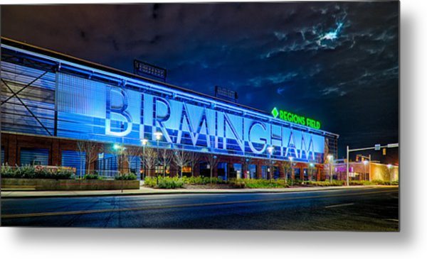 Metal Print featuring the photograph April 2015 -  Birmingham Alabama Baseball Regions Field At Night by Alex Grichenko
