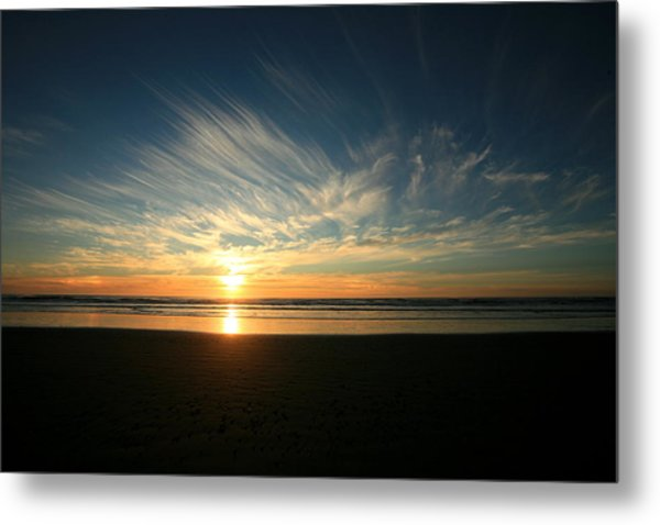 April Beach Sunset Metal Print by Mike Coverdale