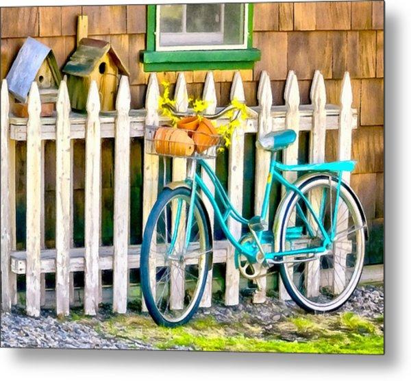 Aqua Antique Bicycle Along Fence Metal Print