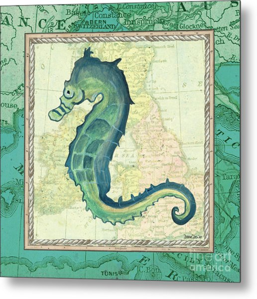 Aqua Maritime Seahorse Metal Print