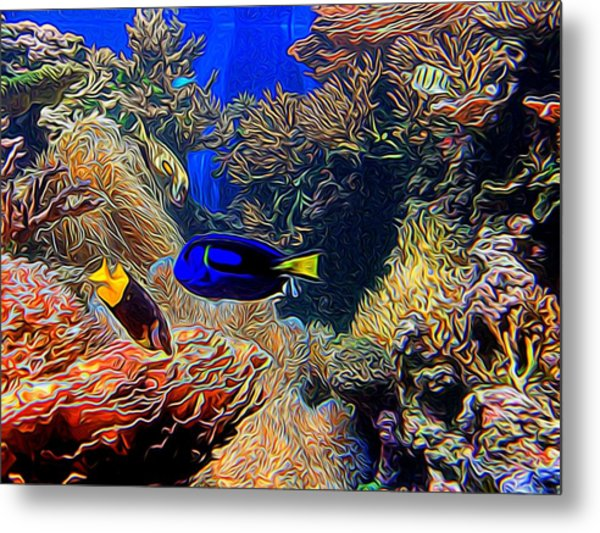 Aquarium Adventures In Abstract Metal Print