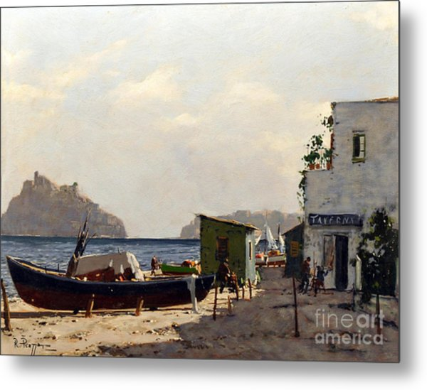 Metal Print featuring the painting Aragonese's Castle - Island Of Ischia by Rosario Piazza