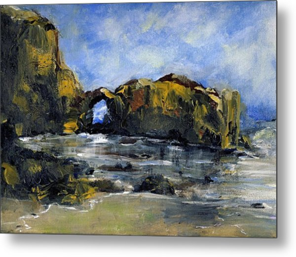 Arch At Pearl Beach Over Cast Metal Print by Randy Sprout