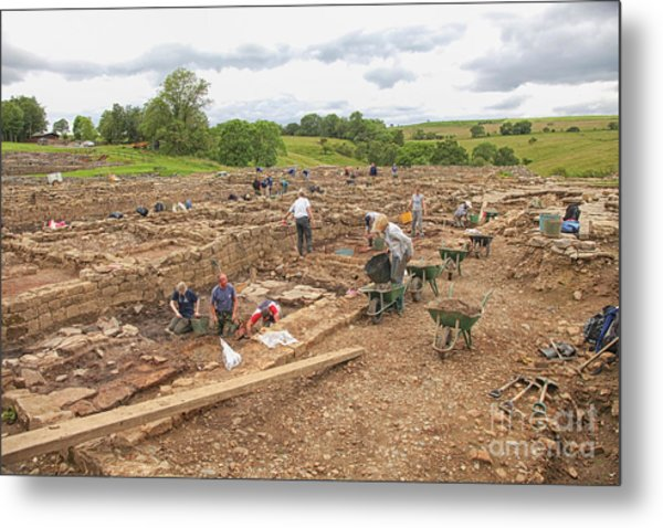 Archaeologists At Work At Roman Vindolanda Metal Print