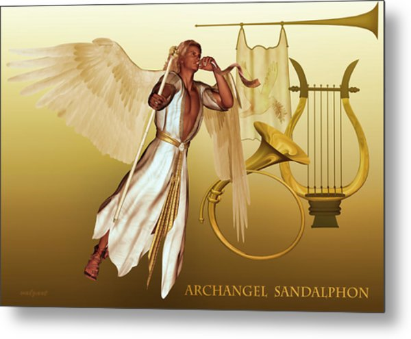 Metal Print featuring the digital art Archangel Sandalphon by Valerie Anne Kelly